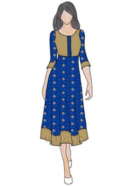 Royal Blue Art Silk Knee Length Kurti