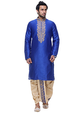 Royal Blue Art Silk Kurta Dhoti Set