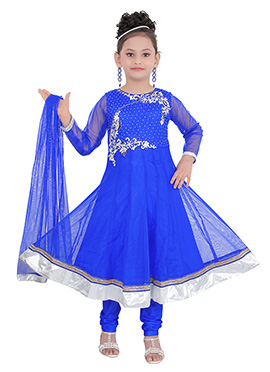 Royal Blue Art Silk N Net Kids Anarkali Suit