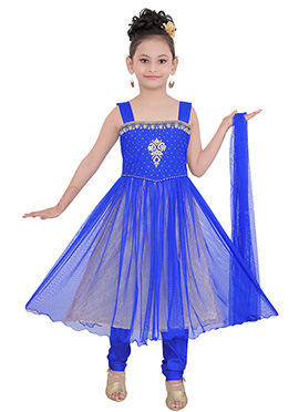 Royal Blue Art Silk N Net Teens Anarkali Suit