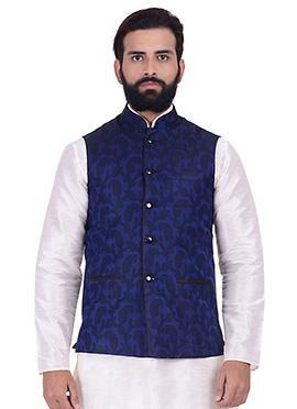 Royal Blue Art Silk Nehru Jacket