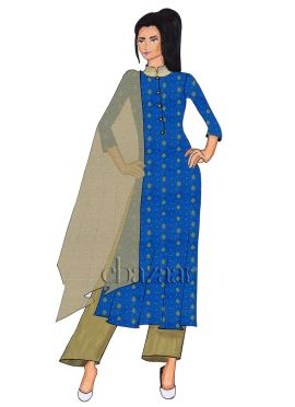 Royal Blue Art Silk Palazzo Suit
