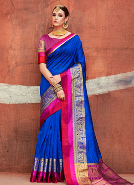 Royal Blue Art Silk Saree