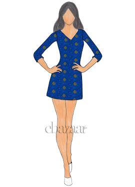 Royal Blue Art Silk Short Kurti
