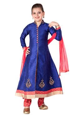 Royal Blue Art Silk Teens Anarkali Suit