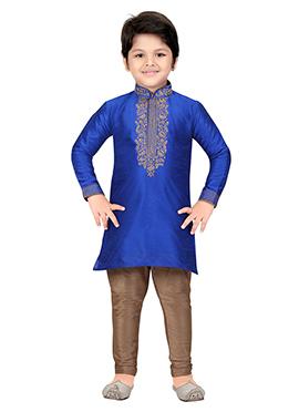 Royal Blue Art Silk Teens Kurta Pyjama