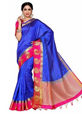 Royal Blue Art Tussar Silk Saree