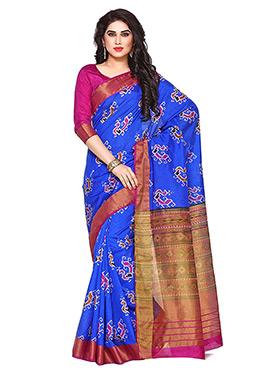 Royal Blue Art Tussar Silk Saree