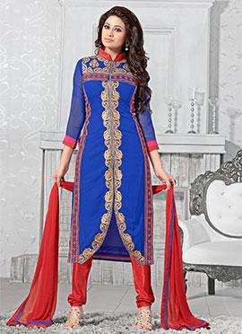Royal Blue Asymmetrical Churidar Suit