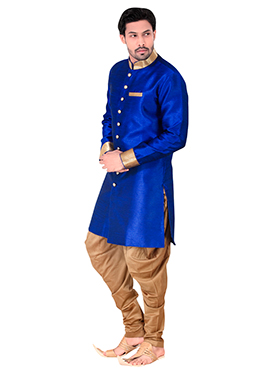Royal Blue Benarasi Art Silk Achkan Sherwani