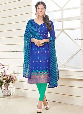 Royal Blue Benarasi Art Silk Churidar Suit