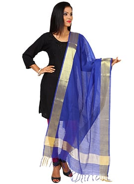 Royal Blue Benarasi Art Silk Dupatta