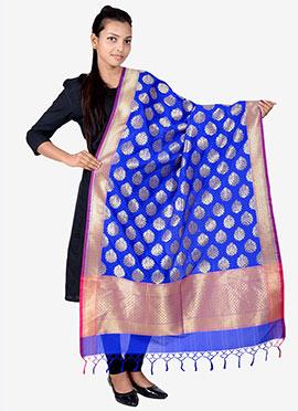 Royal Blue Benarasi Silk Dupatta