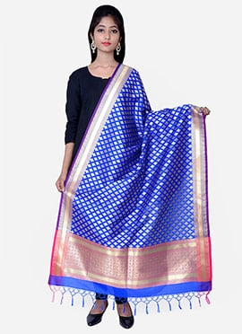 Royal Blue Benarasi Silk Dupatta