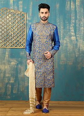 Royal Blue Benarasi Silk Kurta Pyjama