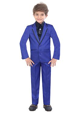 Royal Blue Blended Cotton Kids Suit