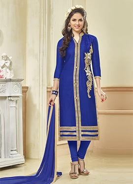 Royal Blue Blended Cotton Straight Suit