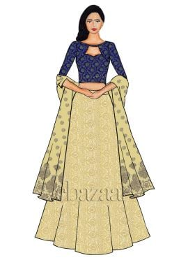 Royal Blue Boat Neck Embroidered Lehenga Set