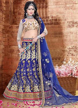 Royal Blue Brocade A Line Lehenga Choli