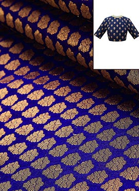 Royal Blue Brocade Blouse