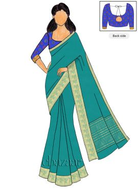 Royal Blue Brocade Blouse N Chiffon Saree