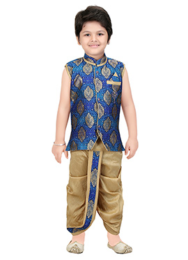 Royal Blue Brocade Kids Dhoti Kurta