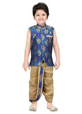 Royal Blue Brocade Kids Dhoti Kurta