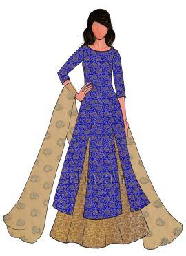 Royal Blue Brocade Long Choli Lehenga Set