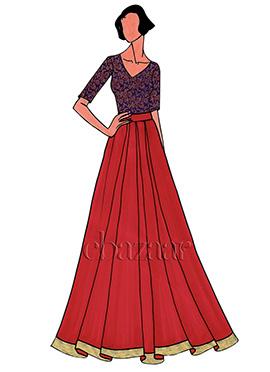 Royal Blue Brocade Skirt Set