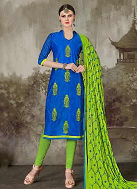 Royal Blue Chanderi Cotton Churidar Suit