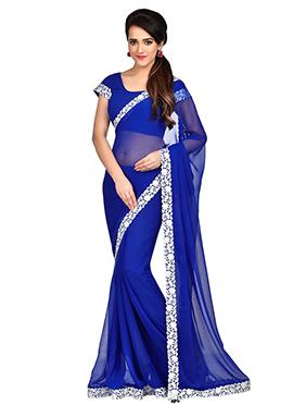 Royal Blue Chiffon Border Saree