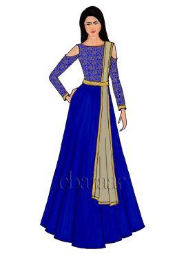 Royal Blue Cold Shoulder Brocade Abaya Set