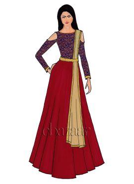 Royal Blue Cold Shoulder Embroidered Abaya Set