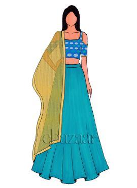 Royal Blue Cold Shoulder Kashi Silk Lehenga