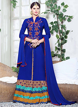 Royal Blue Cotton A Line Lehenga