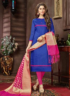 Royal Blue Cotton Churidar Suit