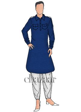 Royal Blue Cotton Pathani Set