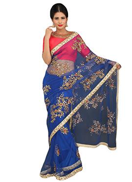 Royal Blue Embellished Net Saree