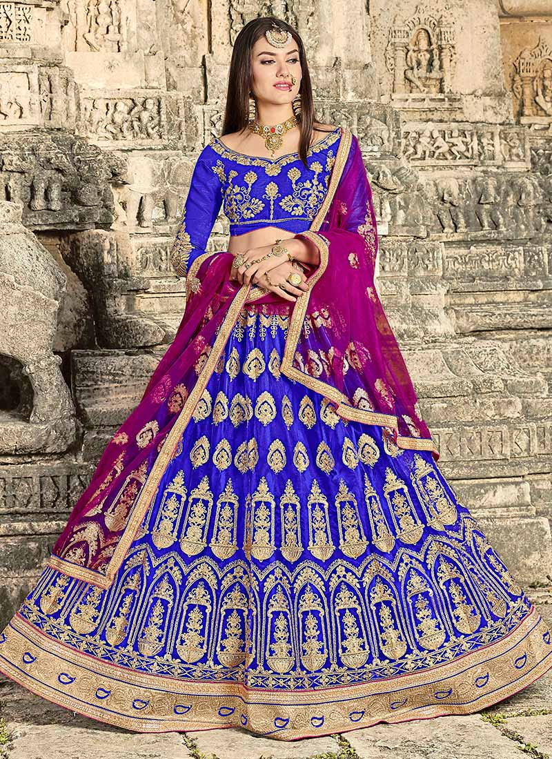 Buy Royal Blue Embroidered A Line Lehenga Stones