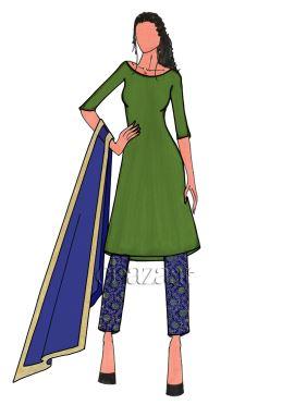 Royal Blue Embroidered Art Silk Straight Pant Salwar Suit