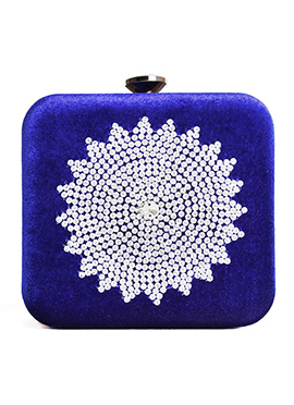 Royal Blue Embroidered Stylish Box Clutch