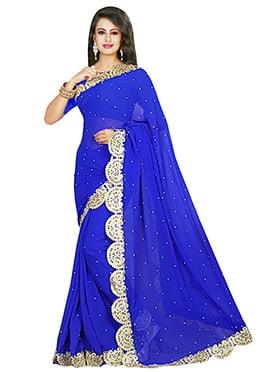 Royal Blue Georgette Crystals Enhanced Saree