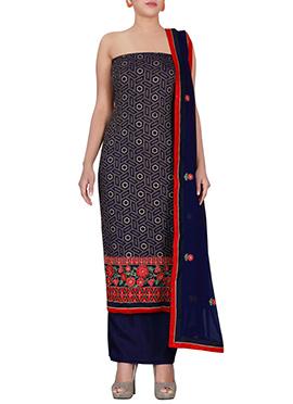 Royal Blue Chiffon Brasso Dress Material