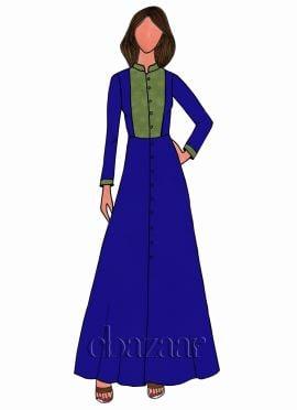 Royal Blue Georgette Full Sleeve Kurti