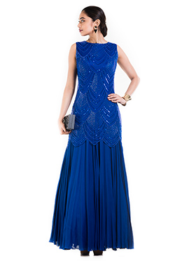 Royal Blue Georgette Mermaid Gown