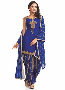 Royal Blue Georgette Patiala Suit