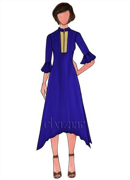Royal Blue Georgette Plain Long Kurti