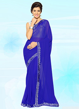 Royal Blue Georgette Saree
