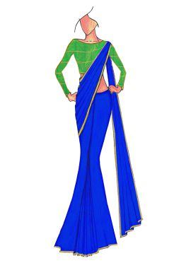Royal Blue Georgette saree with Green Mogra Silk B