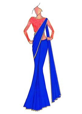 Royal Blue Georgette saree with Pink Mogra Silk Blouse